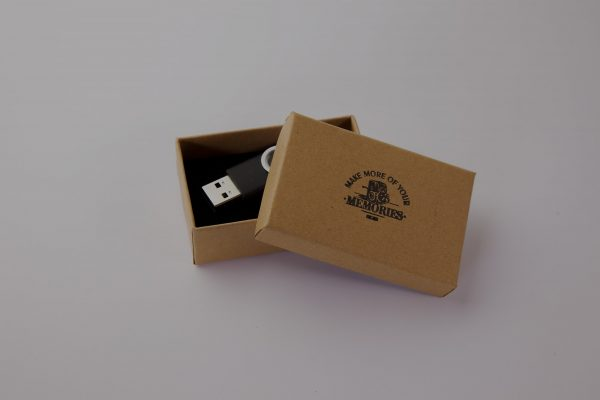 A make more of your memories USB stick in a brown box